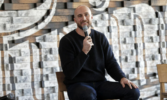 New Minnesota Twins manager Rocco Baldelli addresses the media with the team's annual fan fest underway at Target Field, Friday, Jan. 25, 2019, in Minneapolis. (AP Photo/Jim Mone)