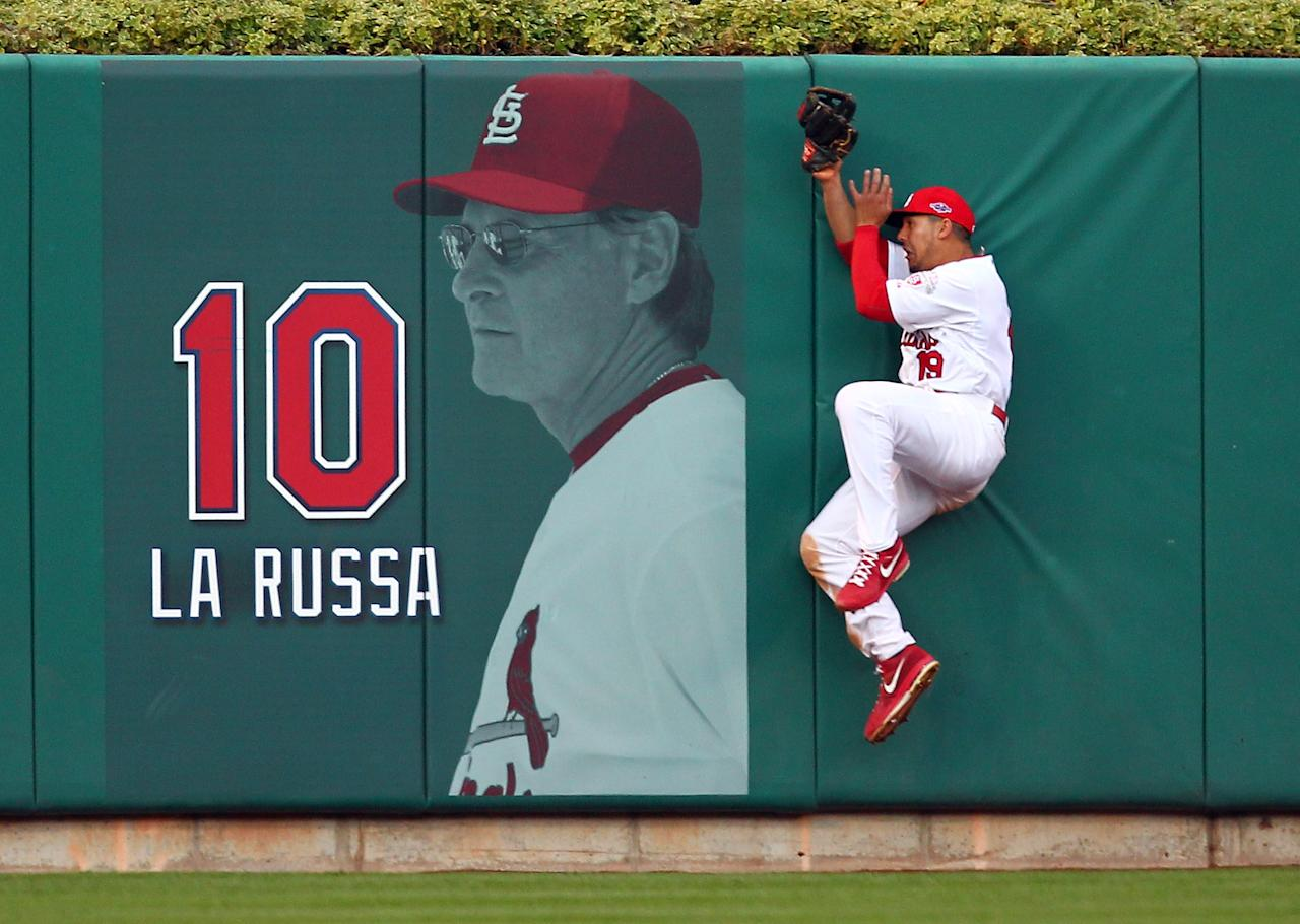 ST LOUIS, MO - OCTOBER 08:  Jon Jay #19 of the St. Louis Cardinals makes a catch against the wall on a ball hit by Danny Espinosa #8 of the Washington Nationals in the sixth inning during Game Two of the National League Division Series at Busch Stadium on October 8, 2012 in St Louis, Missouri.  (Photo by Dilip Vishwanat/Getty Images)