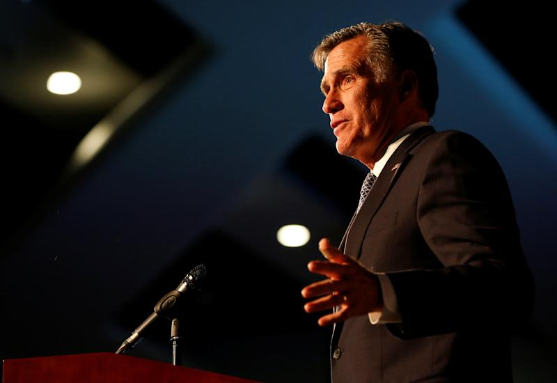 Senate candidate and former presidential nominee Mitt Romney faced his Democratic rival in a debate Tuesday night at Southern Utah University. (Jim Urquhart / Reuters)