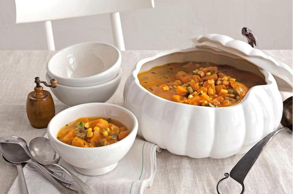 "<p>If your recipe jar could use a refresh, try adding pumpkin to one of your favorite dishes.</p><p><strong><a href=""https://www.countryliving.com/food-drinks/recipes/a2990/pumpkin-chowder-recipe/"" rel=""nofollow noopener"" target=""_blank"" data-ylk=""slk:Get the recipe"" class=""link rapid-noclick-resp"">Get the recipe</a>.</strong></p>"