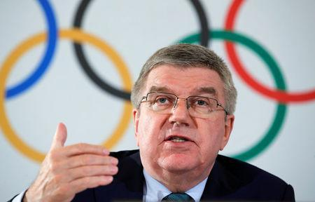 Thomas Bach, President of the International Olympic Committee (IOC) attends a news conference after an Executive Board meeting in Lausanne, Switzerland, May 3, 2018. REUTERS/Denis Balibouse