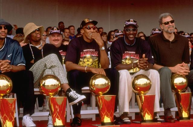 The Chicago Bulls after their 1997 NBA Finals win