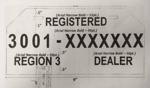 Standardized temporary plate requirements