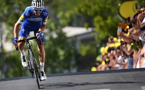 <span>Julian Alaphilippe exploded on the road to Épernay as the Frenchman took his first yellow jersey</span> <span>Credit: Getty Images </span>