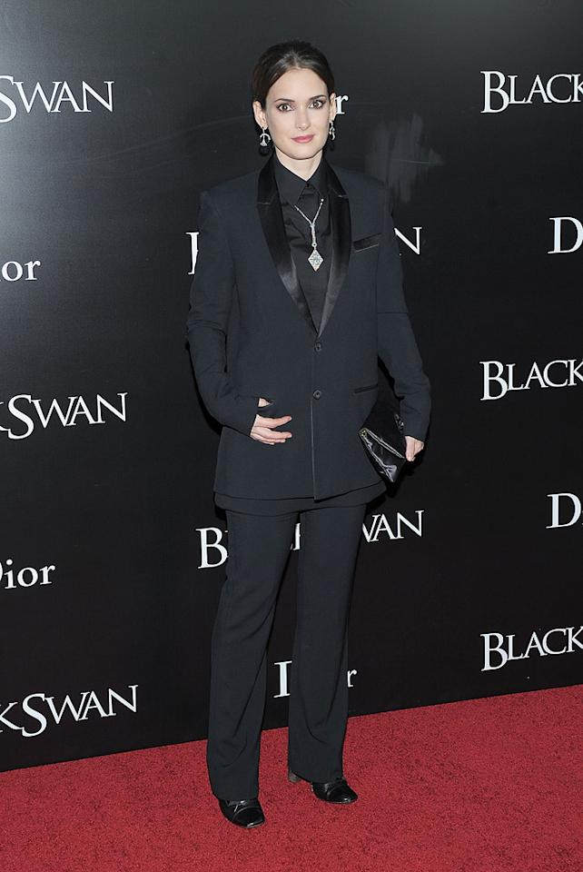 """<a href=""""http://movies.yahoo.com/movie/contributor/1800010920"""">Winona Ryder</a> at the New York City premiere of <a href=""""http://movies.yahoo.com/movie/1810126670/info"""">Black Swan</a> on November 30, 2010."""