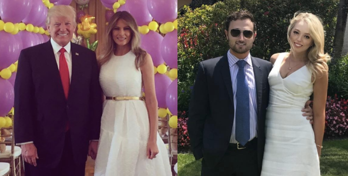 Melania Trump (left) and stepdaughter Tiffany Trump (right) wore matching white dresses on Easter. (Photo: Instagram)