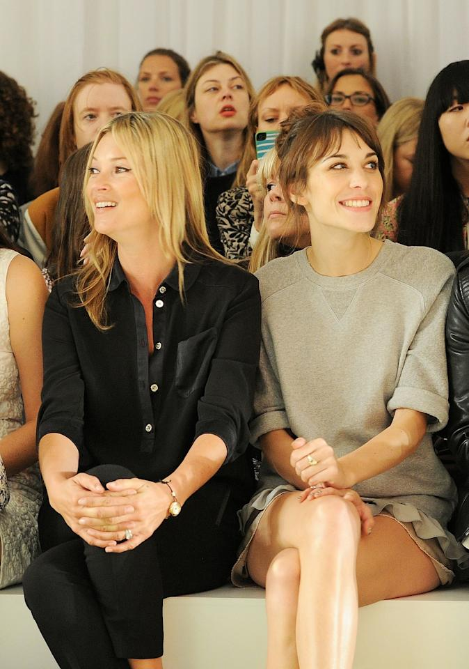 "<p class=""MsoNormal""><span>Legendary British model Kate Moss (L) and model and TV host Alexa Chung sat in the front row during the Mulberry Spring/Summer 2013 Show during London Fashion Week at Claridge's.</span></p><p class=""MsoNormal""><span>(Photo by Dave M. Benett/Getty Images)</span></p>"