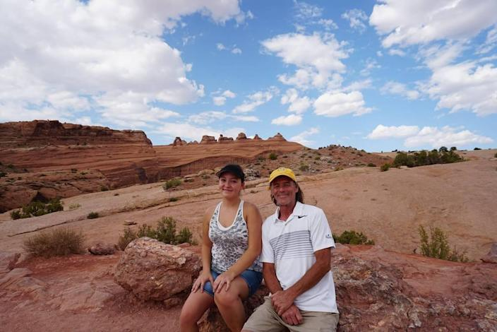 Anya with her father, Ray Brunett III, photographed in Utah last year.