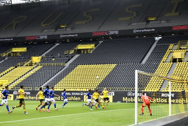 Empty stands in Dortmund as the Bundesliga resumes (Martin Meissner/AP)