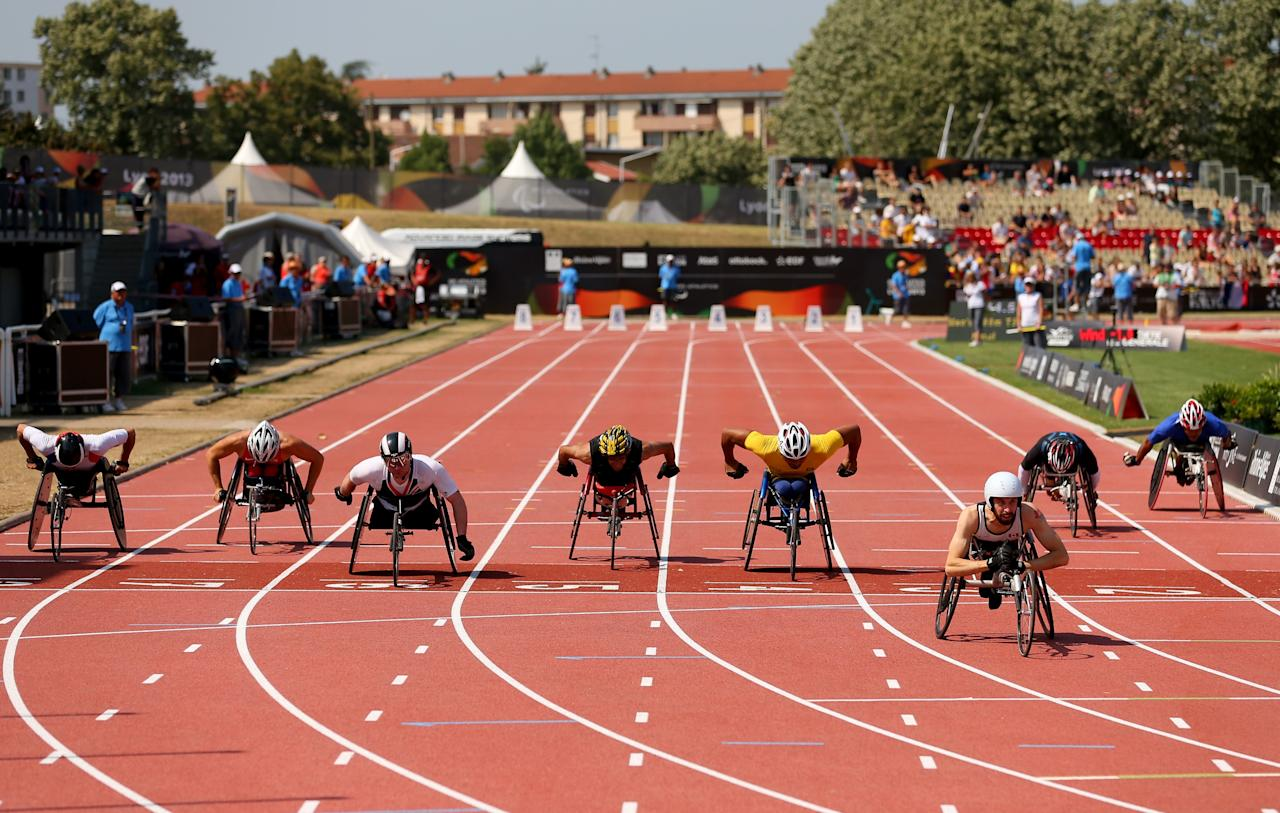 LYON, FRANCE - JULY 26: Brent Lakatos of Canada (3rd R) wins ahead of (3rd L) Mickey Bushell of Great Britain in the Men's 100m T53 final during day seven of the IPC Athletics World Championships on July 26, 2013 in Lyon, France. (Photo by Julian Finney/Getty Images)