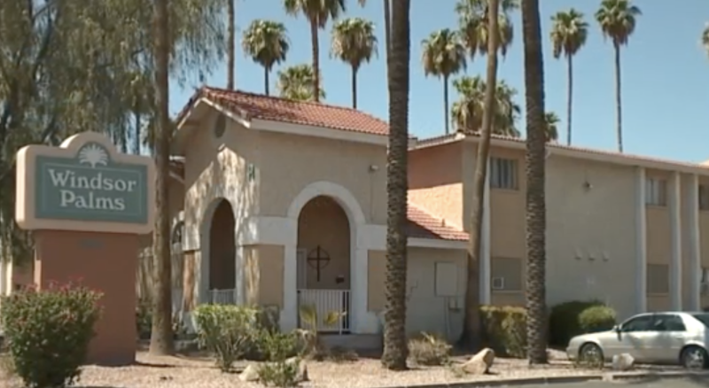 Pictured is the front of Windsor Palms.