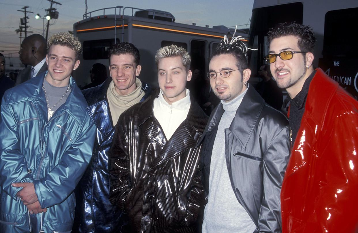 The three, seen here with their fellow *Nsync bandmates Justin Timberlake and Joey Fatone, wear turtlenecks at the annual American Music Awards in 1999. (Timberlake's mockneck almost counts.)