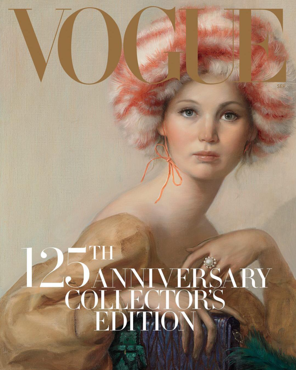 Jennifer Lawrence was painted by artist John Currin for Vogue's 2017 September issue [Photo: Instagram/voguemagazine]