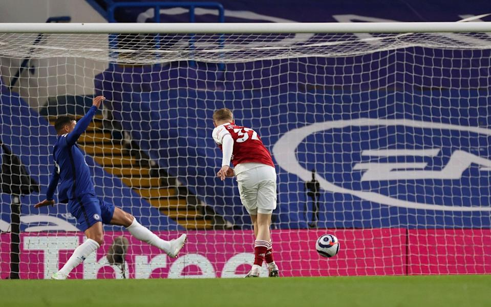 Emile Smith Rowe of Arsenal scores and celebrates scoring his teams opening goal of the match - Marc Aspland/NMC Pool