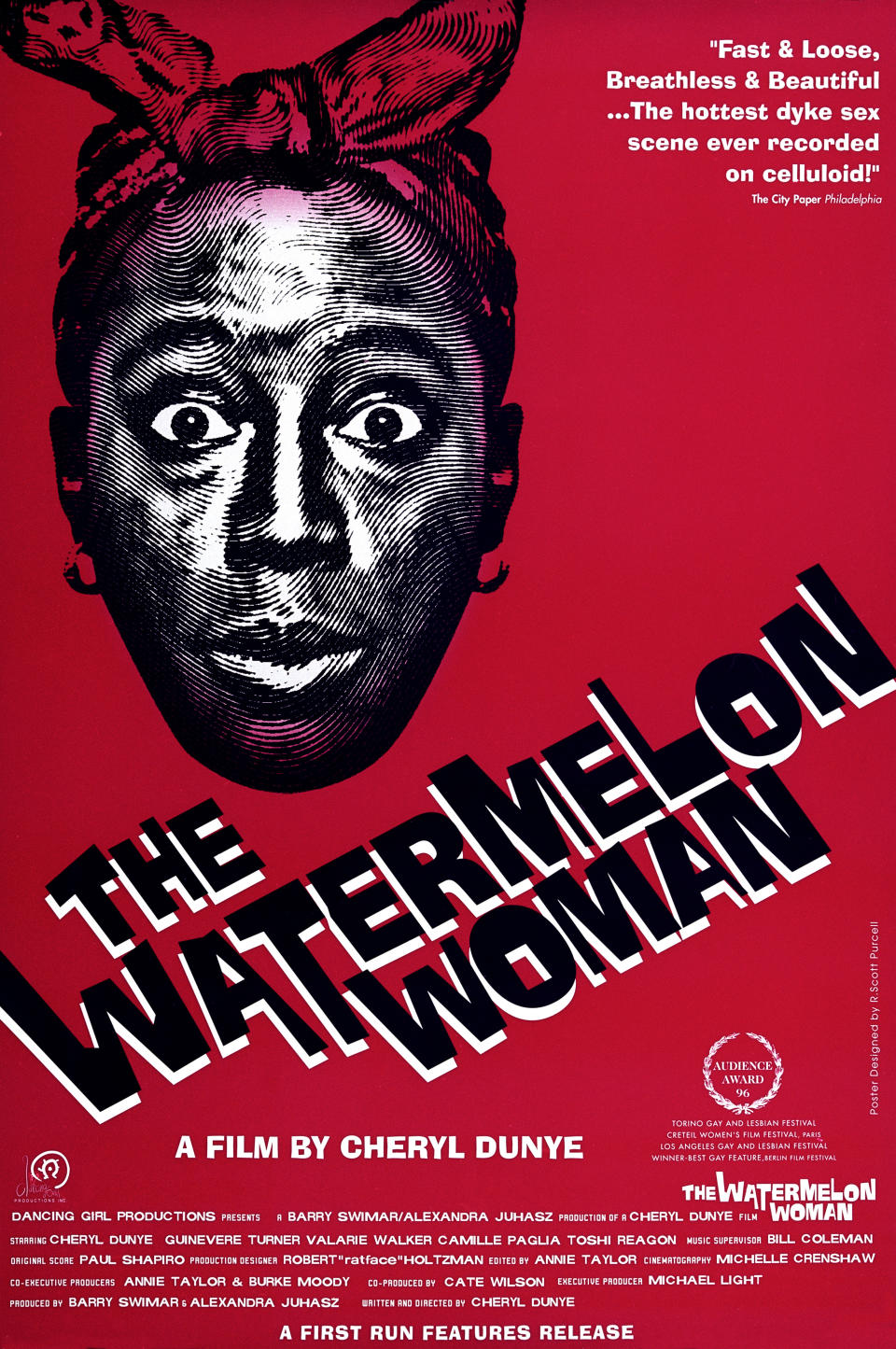 One Sheet movie poster advertises 'The Watermelon Woman' (Dancing Girl Productions), a lesbian drama directed by and starring Cheryl Dunye, Philadelphia, Pennsylvania, 1996. (Photo by John D. Kisch/Separate Cinema Archive/Getty Images)