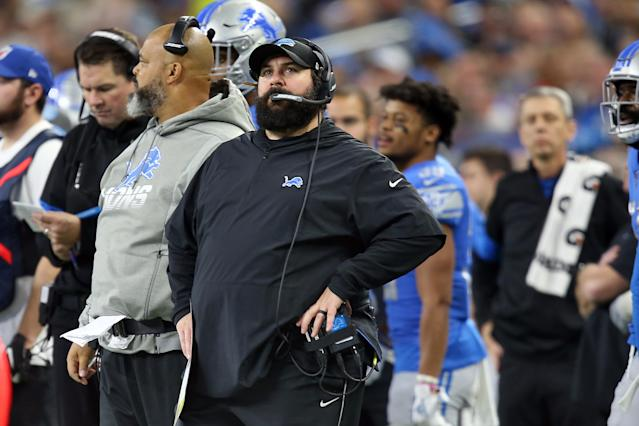 Despite a dismal record since he was hired in 2018, Matt Patricia gets to keep being head coach of the Lions for another year. (Photo by Amy Lemus/NurPhoto via Getty Images)