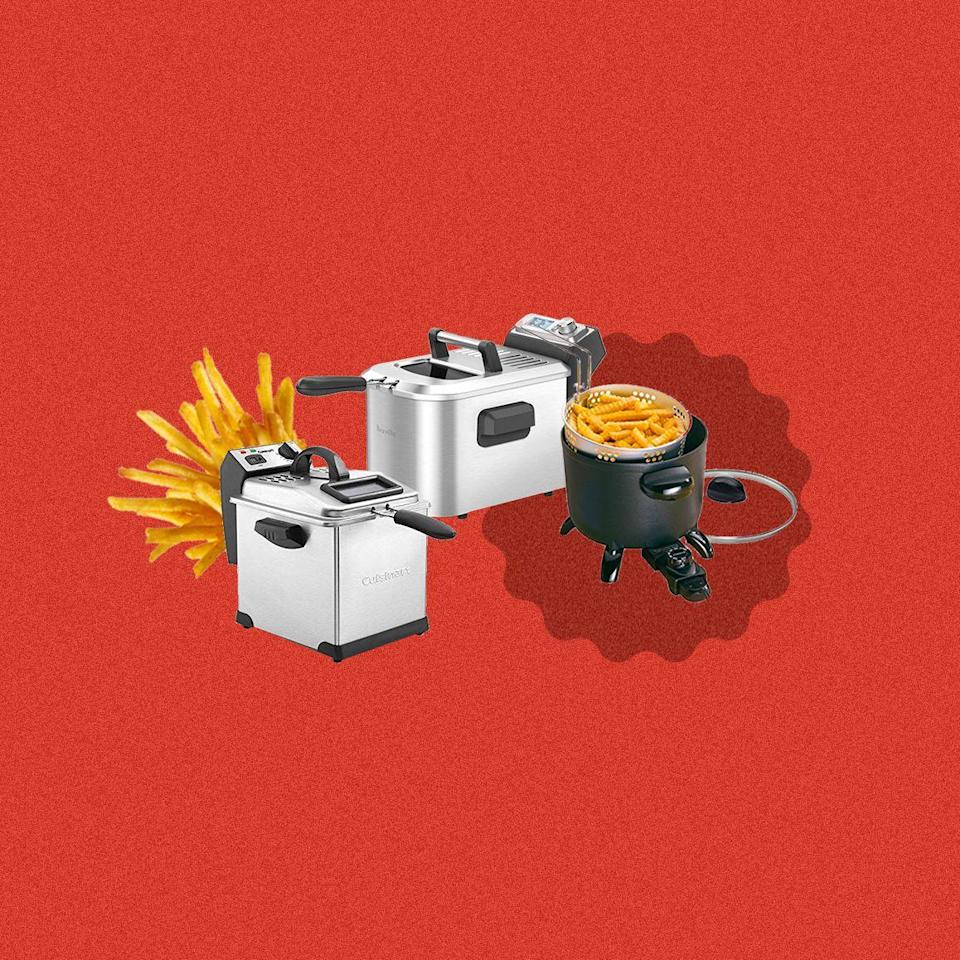 """<p>Don't get us wrong, <a href=""""https://www.delish.com/cooking/a33515215/air-fryer-bookazine/"""" rel=""""nofollow noopener"""" target=""""_blank"""" data-ylk=""""slk:we love our air fryer"""" class=""""link rapid-noclick-resp"""">we love our air fryer</a> as much as the next person. But sometimes you just need some good ol' French fries. Or buffalo wings. Or country fried chicken—oil usage be damned. For the most comforting of all comfort foods, you must invest in a <a href=""""https://www.delish.com/cooking/tips/g32/frying-tips-recipes/"""" rel=""""nofollow noopener"""" target=""""_blank"""" data-ylk=""""slk:deep fryer"""" class=""""link rapid-noclick-resp"""">deep fryer</a>. But you've gotta pick the right one: The best model for one person may not be ideal for someone else. Ask yourself these questions before you start shopping.<br></p><h4 class=""""body-h4"""">What to look for in a deep fryer:</h4><p><strong><u>Safety</u></strong></p><p>Burning hot oil on the skin? We'll pass on that. If you're cooking with kids, your eyes are not what they used to be, or you're simply not the most coordinated of people, you'll want a deep fryer that comes with special safety functions. For example, disposing of leftover boiling hot oil improperly is a surefire way to burn yourself. Look for deep fryers with a removable oil container or pouring spout for easy throw-away. </p><p><strong><u>Capacity</u></strong></p><p>Are you cooking for one or are you prepping for a large crew? If you're cooking more than one item for more than one person, you may want to look for a deep fryer with features like multiple baskets and a large capacity (say, one that holds four quarts).</p><p><strong><u>Storage</u></strong></p><p>There's no way around it—deep fryers take up their fare share of counter real estate. Ask yourself how often you'll be using your deep fryer. You may want to consider a smaller one that takes up less counter space if it will be out often.</p><p>Once you've figured out what exactly you're looking for, shop the best deep fryers in every"""