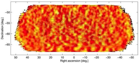 The tiny temperature fluctuations of the cosmic microwave background (shown here as color) trace primordial density fluctuations in the early universe that seeded the later growth of galaxies. These fluctuations produce a pattern of polarizatio