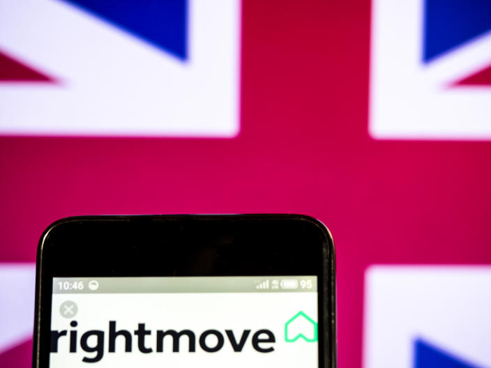 UKRAINE - 2019/03/20: In this photo illustration a Rightmove plc company logo seen displayed on a smart phone. (Photo Illustration by Igor Golovniov/SOPA Images/LightRocket via Getty Images)