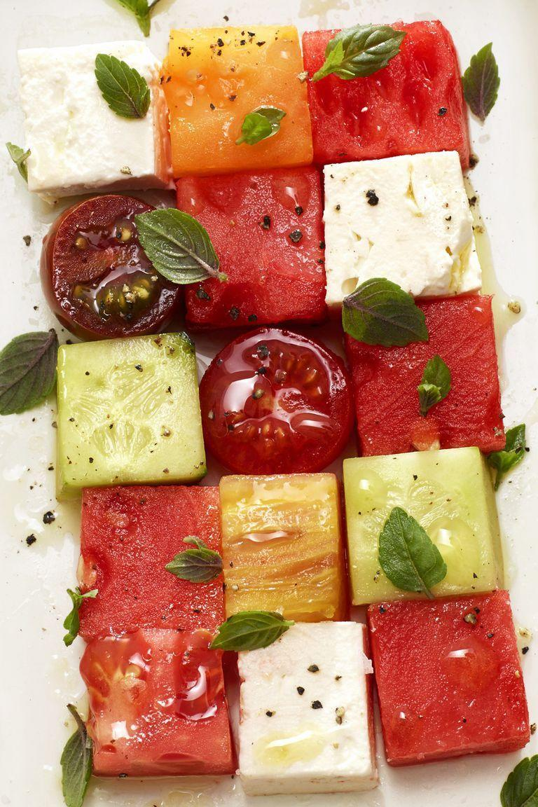 """<p>Summer's ultimate trio — melon, tomato, and feta — taste even better when paired together. See for yourself. </p><p><em><a href=""""https://www.goodhousekeeping.com/food-recipes/easy/a22577331/melon-mosaic-recipe/"""" rel=""""nofollow noopener"""" target=""""_blank"""" data-ylk=""""slk:Get the recipe for Melon Mosaic »"""" class=""""link rapid-noclick-resp"""">Get the recipe for Melon Mosaic »</a></em></p>"""