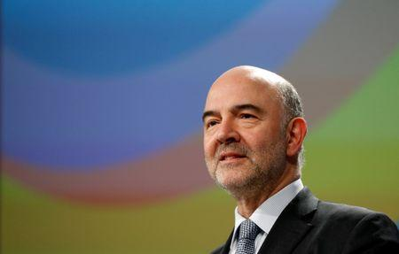 EU Economic and Financial Affairs Commissioner Moscovici holds a news conference in Brussels
