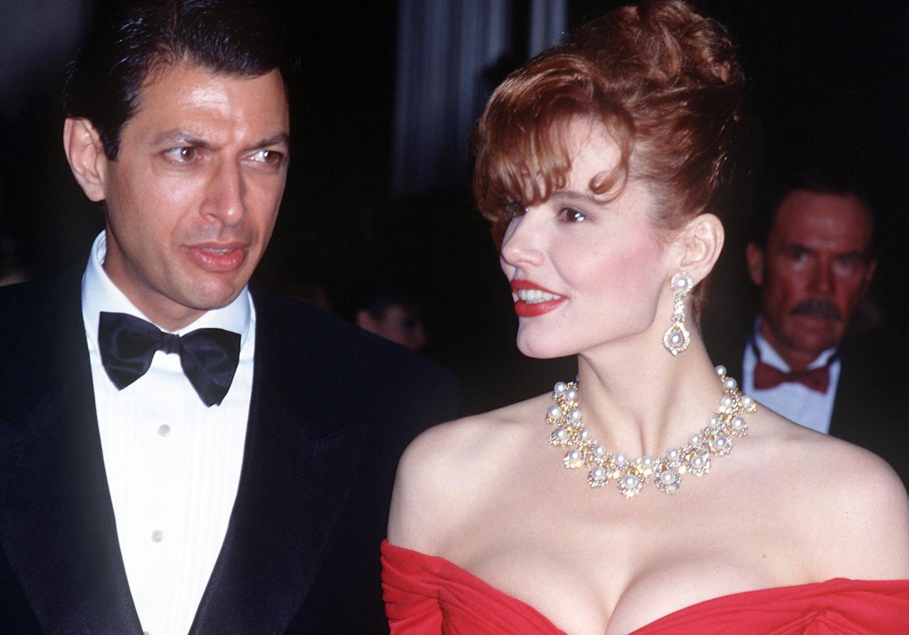"""Davis and Goldblum met on the set of <em>Transylvania 6-5000</em> and, after making two more films together, tied the knot in Las Vegas in 1987. The divorce came just three years later, with the couple citing """"irreconcilable differences."""""""