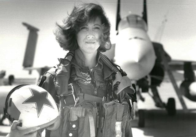 <p>U.S. Navy Lieutenant Tammie Jo Shults, who is currently a Southwest Airlines pilot, poses in front of a Navy F/A-18A in this 1992 photo released in Washington, D.C., April 18, 2018. (Photo: Thomas P. Milne/U.S. Navy/Handout via Reuters) </p>