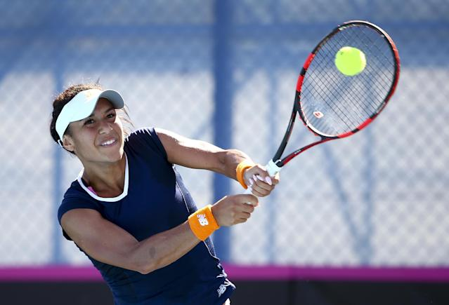 EILAT, ISRAEL - FEBRUARY 04: Heather Watson of Great Britain plays a backhand during her match against Chanel Simmonds of South Africa during the tie between South Africa and Great Britain on day two of the Fed Cup Europe/Africa Group One fixture at the Municipal Tennis Club on February 4, 2016 in Eilat, Israel. (Photo by Jordan Mansfield/Getty Images for LTA)