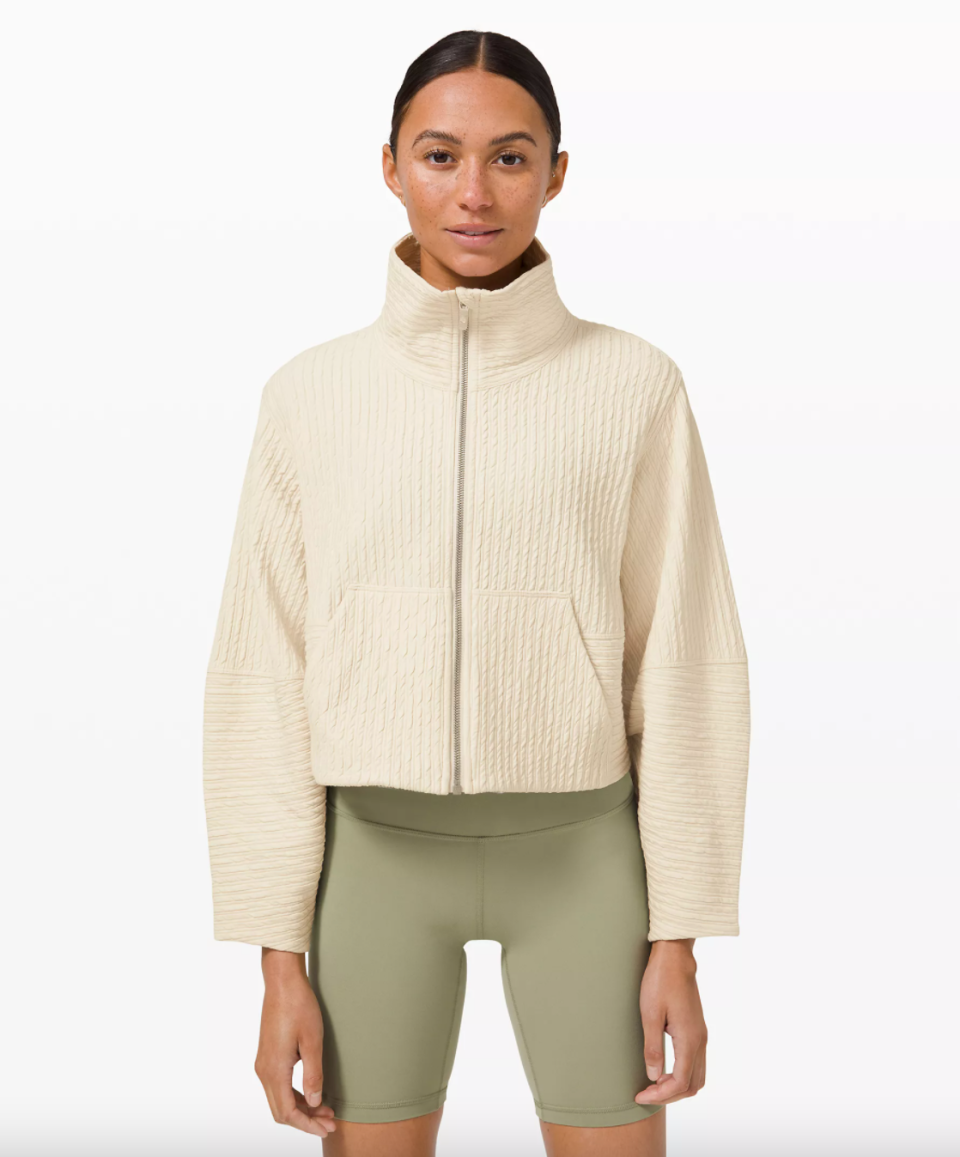 Lululemon Textured Cropped Jacket in White Opal (Photo via Lululemon)
