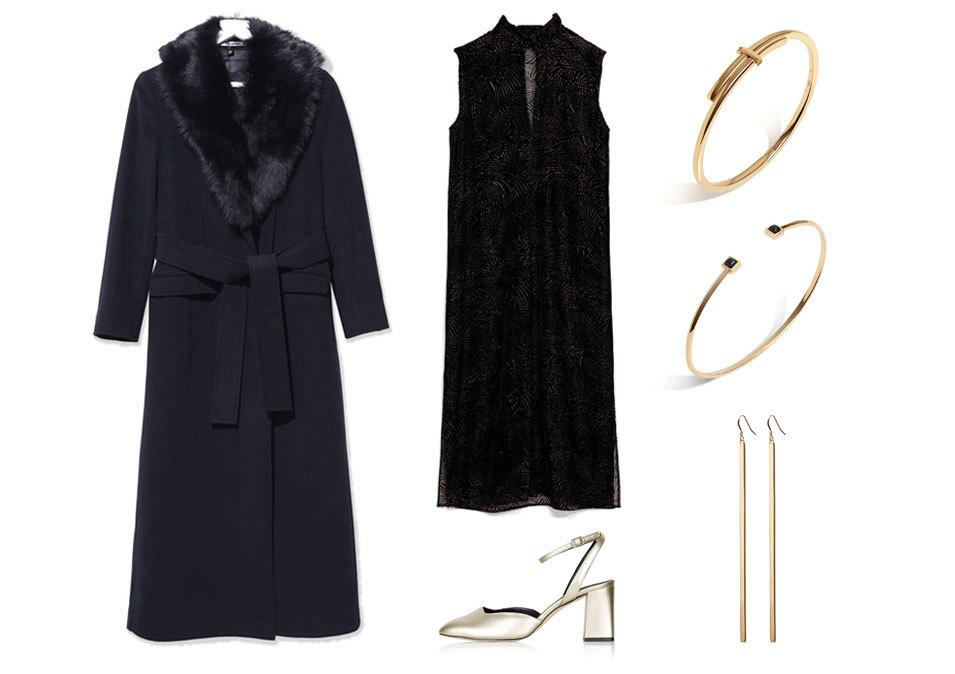 <p>For a festive, flirty look throw on a pair of metallic midi heels or flats so you can twirl the night away. These gold sandals are perfect as they aren't too bold to wear to the office, but are festive enough for a fun night out. The coat adds even more glamour! </p>
