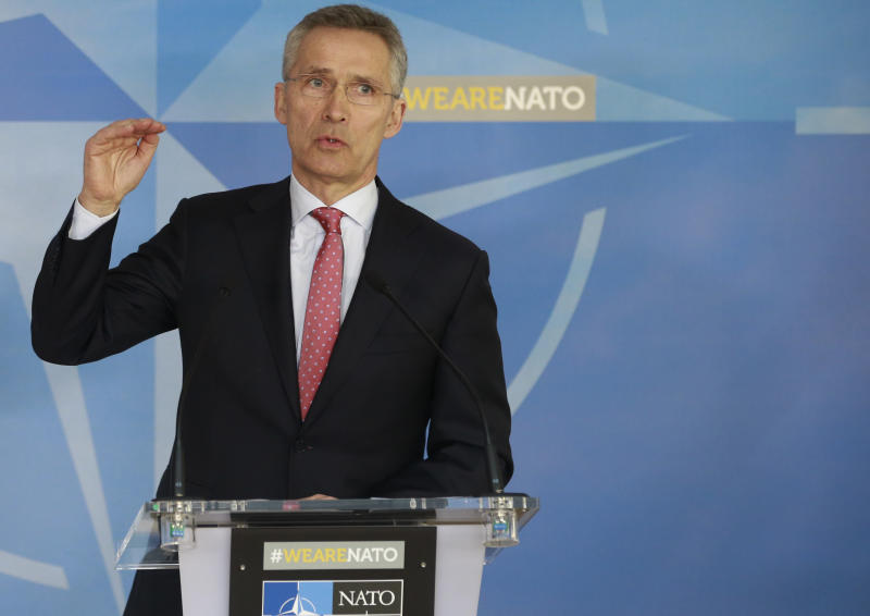 NATO Secretary General Jens Stoltenberg speaks during a media conference at NATO headquarters in Brussels on Tuesday, March 27, 2018. Jens Stoltenberg announced the expulsion of seven Russian staff at the alliance mission and the rejection of three more accreditations, reducing Russia's diplomatic manpower from 30 to 20 at the alliance. (AP Photo)