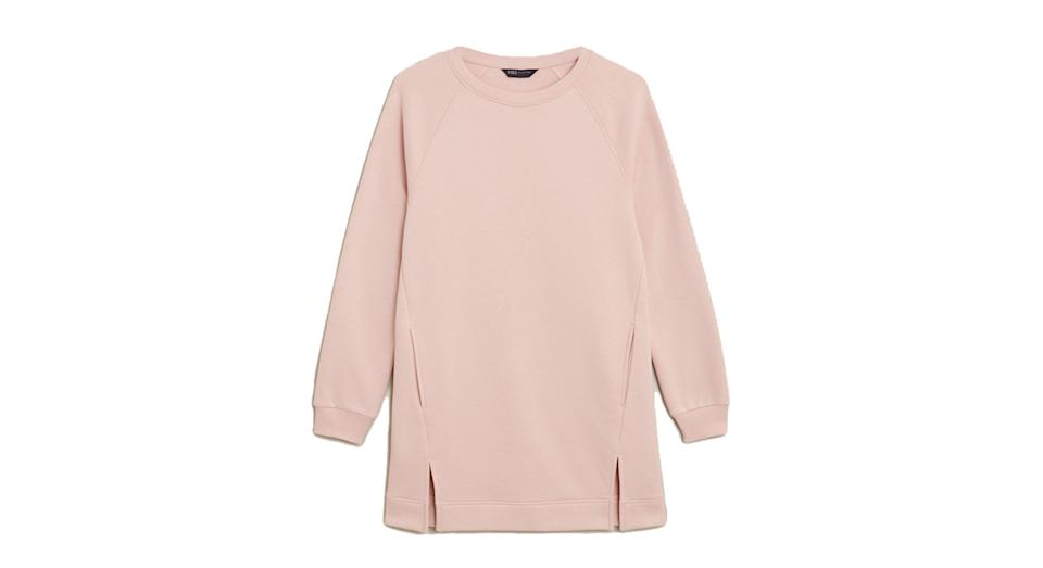 Cotton Crew Neck Longline Sweatshirt