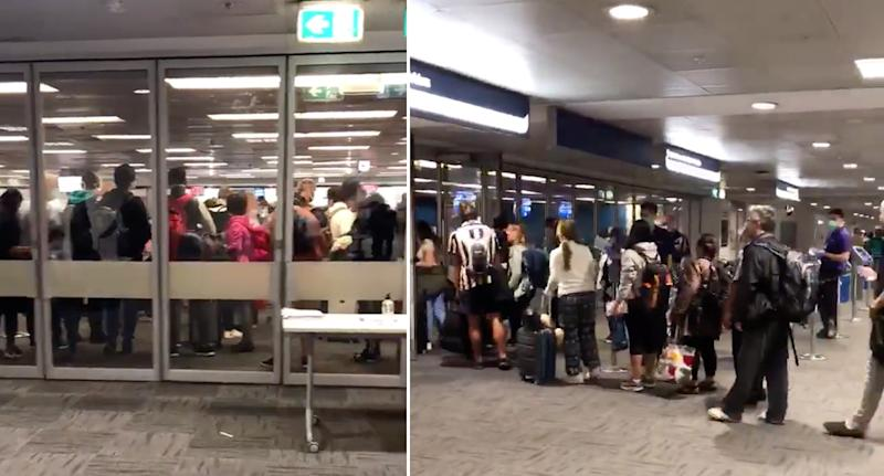 Passengers seen queueing at Sydney Airport Thursday morning. Source: Twitter/Sally Prosser