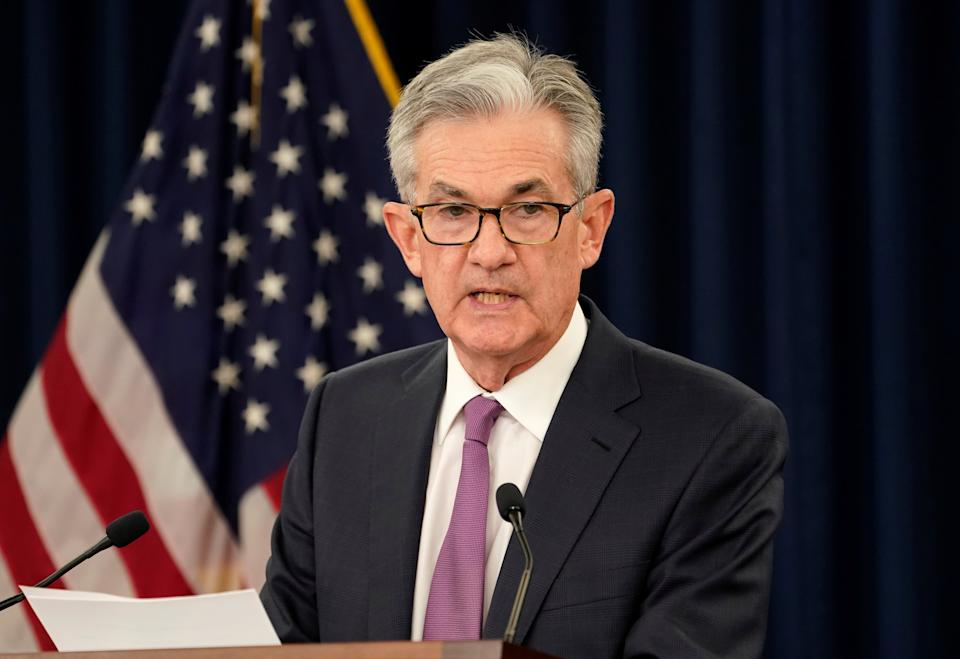 Federal Reserve Chairman Jerome Powell holds a news conference following a two-day Federal Open Market Committee meeting in Washington, U.S., June 19, 2019.  REUTERS/Kevin Lamarque