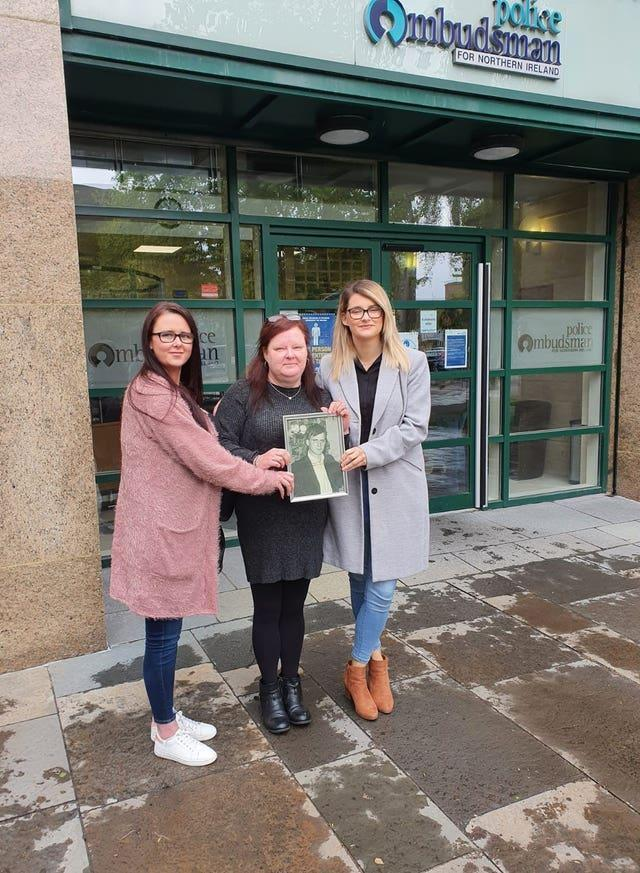 Hugh McCabe's daughter, Liz McCabe (centre) and two of his granddaughters, Caoimhe Bradley and Claire McCabe