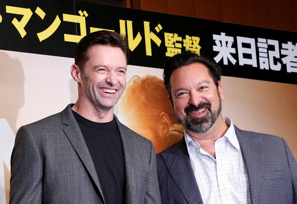 """Actor Hugh Jackman (L) and director James Mangold attend a news conference for their movie """"Logan"""" in Tokyo, Japan May 25, 2017. REUTERS/Kim Kyung-Hoon"""