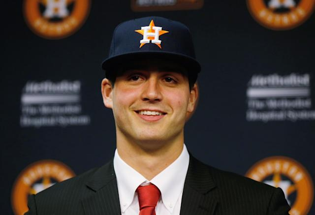 HOUSTON, TX - JUNE 19: Houston Astros first overall draft pick Mark Appel speaks to the media after signing with the team prior to the start of the game between the Milwaukee Brewers and the Houston Astros at Minute Maid Park on June 19, 2013 in Houston, Texas. (Photo by Scott Halleran/Getty Images)