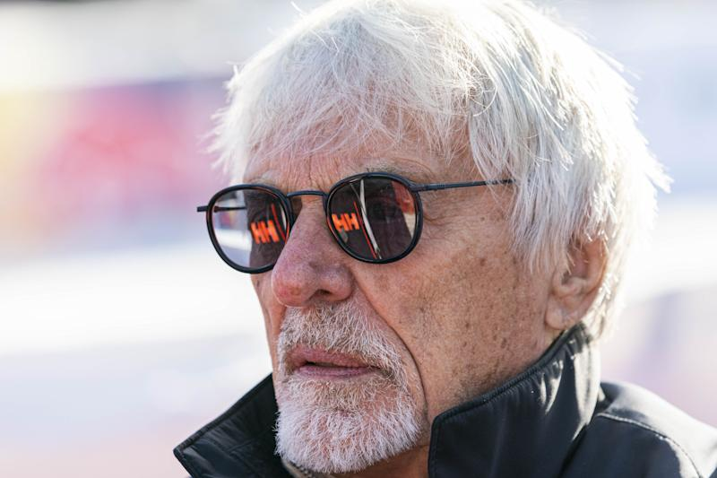 Bernie Ecclestone of United Kingdom looks on during the Audi FIS Alpine Ski World Cup.