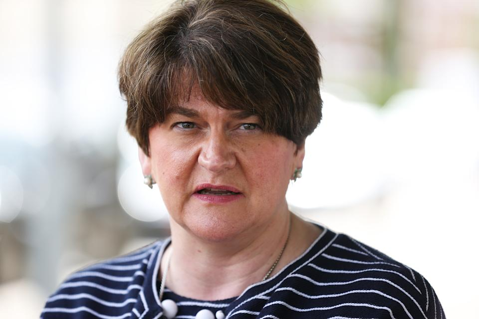 First Minister Arlene Foster at the Strand Centre Cinema in east Belfast to mark the reopening of indoor arts venues, after the latest easing of the Covid-19 rules in Northern Ireland .
