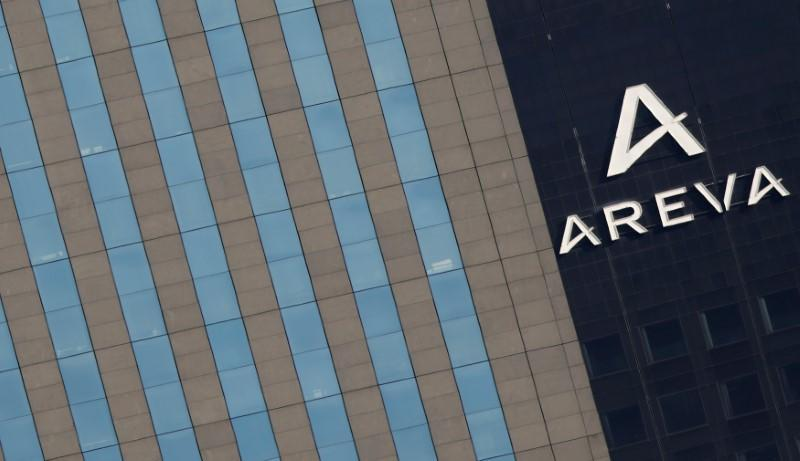 A logo is seen on the Areva Tower in Courbevoie