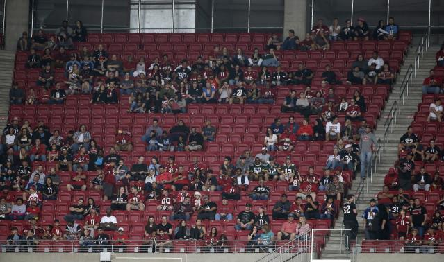 Empty seats seen at last week's Titans-Cardinals matchup in Arizona. (AP)