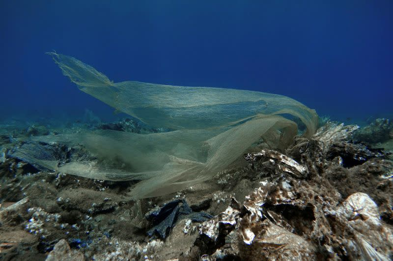 FILE PHOTO: Plastic waste is pictured at the bottom of the sea, off the island of Andros