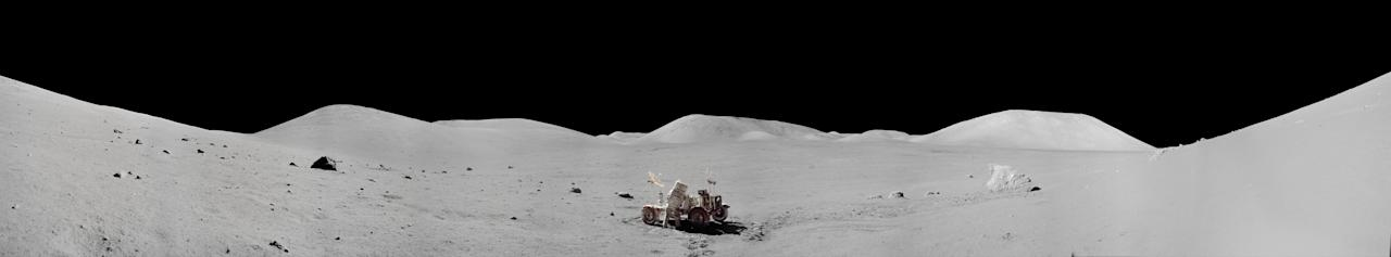 """The images were created by experts at NASA's Johnson Space Center who """"stitched together"""" images from the Apollo landing sites on the moon (Picture: NASA)"""