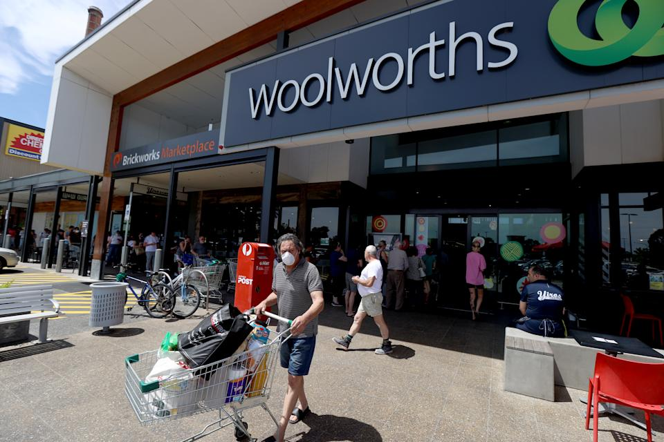Shoppers outside a Woolworths supermarket in South Australia.