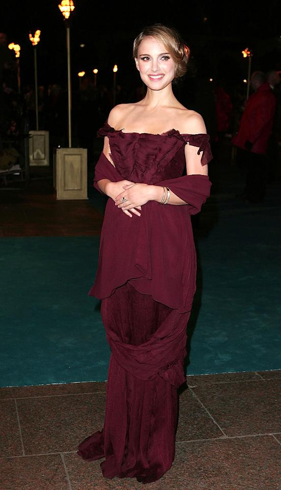 "2008: ""<a href=""http://movies.yahoo.com/movie/1809772229/info"">The Other Boleyn Girl</a>"" Premiere   Portman looked just as regal as the character she portrayed in ""The Other Boleyn Girl,"" baring her shoulders in this dress from Christian Lacroix Haute Couture at the London debut of her film."