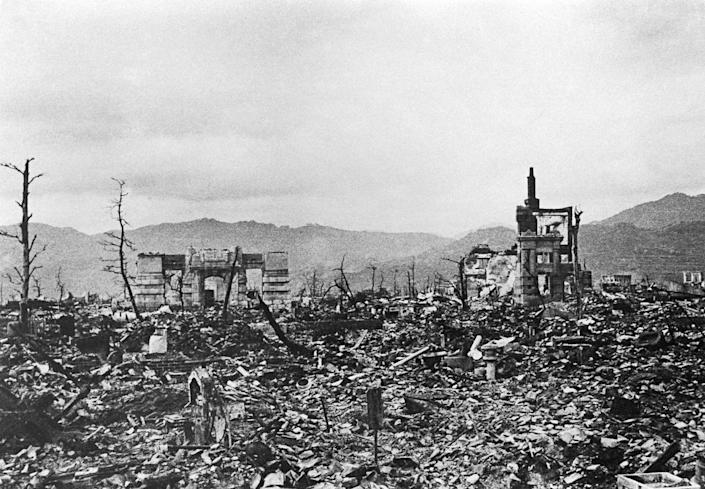 "<span class=""caption"">Hiroshima's city center after the explosion of an atomic bomb on Aug. 6, 1945.</span> <span class=""attribution""><a class=""link rapid-noclick-resp"" href=""https://www.gettyimages.com/detail/news-photo/hiroshima-photograph-exhibited-at-atomac-bomb-museum-shows-news-photo/948324834?adppopup=true"" rel=""nofollow noopener"" target=""_blank"" data-ylk=""slk:Paolo KOCH/Gamma-Rapho via Getty Images"">Paolo KOCH/Gamma-Rapho via Getty Images</a></span>"