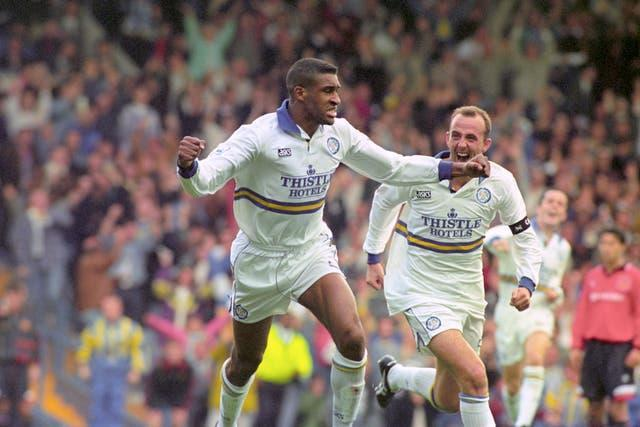 Brian Deane (left) was on target for Leeds
