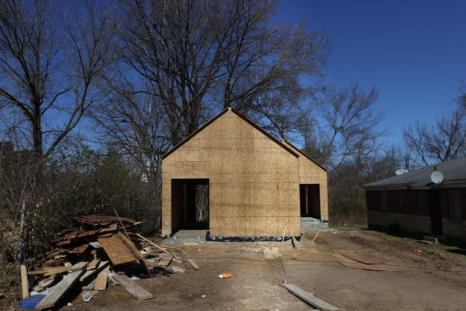 Construction of a tiny home in south Memphis, Tenn. where Kayla Gore, founder of My Sistah's House, is working to help provide sustainable options for the homeless transgender and BIPOC community.