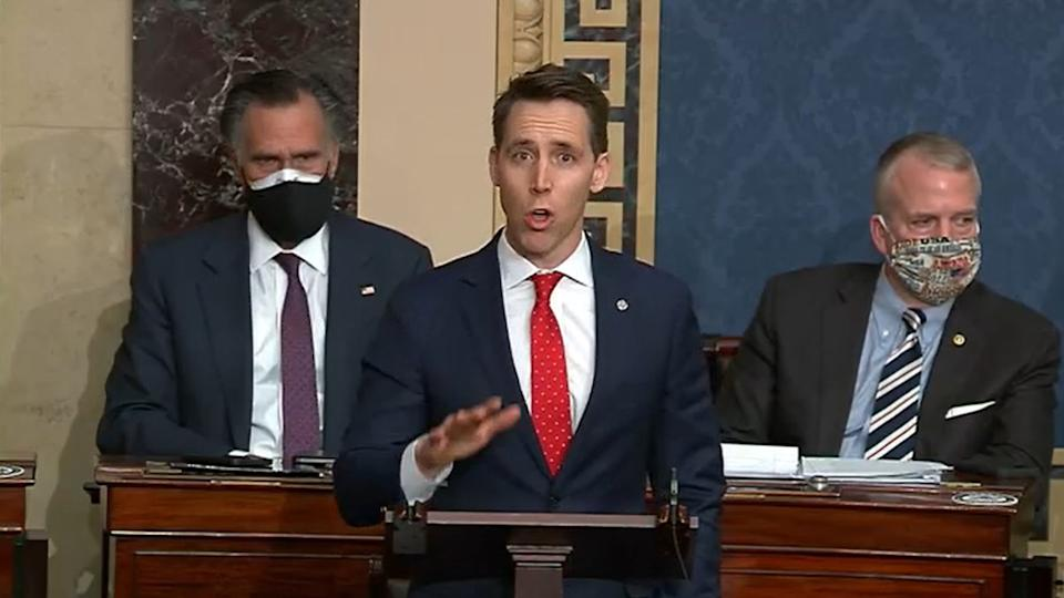 WASHINGTON, DC - JANUARY 6: In this screenshot taken from a congress.gov webcast, Sen. Josh Hawley (R-MO) speaks during a Senate debate session to ratify the 2020 presidential election at the U.S. Capitol on January 6, 2021 in Washington, DC. Congress has reconvened to ratify President-elect Joe Biden's 306-232 Electoral College win over President Donald Trump, hours after a pro-Trump mob broke into the U.S. Capitol and disrupted proceedings.  (Photo by congress.gov via Getty Images)