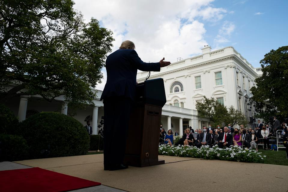 President Donald Trump speaks about coronavirus testing strategy, in the Rose Garden of the White House, Monday, Sept. 28, 2020, in Washington.
